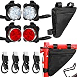 4 Pieces USB Rechargeable Bike Light Bike Headlight and Taillight Front and Rear Bicycle Light and 1 Piece Bike Storage Bag Waterproof Triangle Saddle Frame Pouch for Cycling (Black Bag)