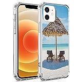 guchaolu Compatible con iPhone 12 Pro iPhone 12 Modelo de teléfono caso con mar, tumbonas de madera frente al océano oriental bajo un paraguas de paja en