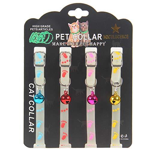 ZHUOHONG Leuchtendes Hundehalsband für Katzen, verstellbar, Gummi, leuchtende Halsbänder mit Glöckchen für kleine und mittelgroße Hunde
