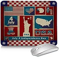 ヴィンテージアメリカンフラッグ独立記念日マウスパッドマット、ステッチエッジ、長方形の作業用マウスパッド、滑り止めの防水ラバーベース、作業用および家庭用ゲーム用耐久性8.3x10.3in-IndependenceDayohy0383-8.3x10.3in