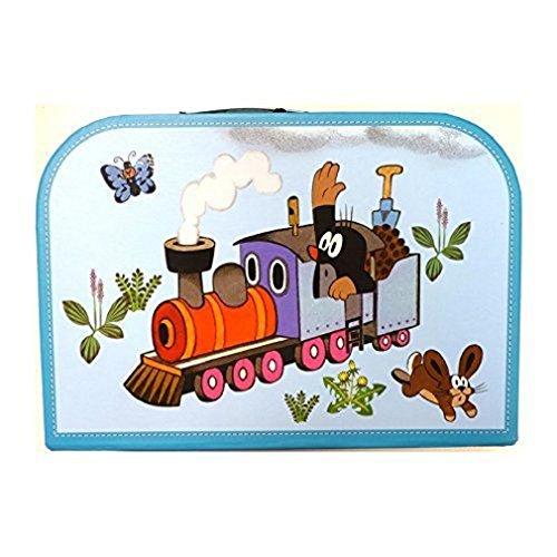 """Kinderkoffer 16298 \""""Maulfwurf mit der Eisenbahn\"""" blau gross 30 cm"""