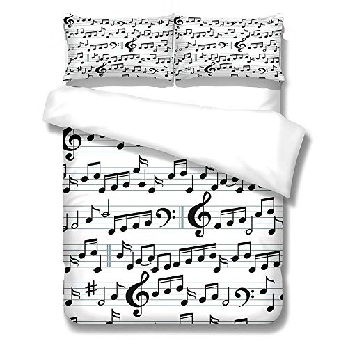 SFALHX Printed Duvet Cover Set Black and white & sheet music King 86.6x90.5 inches Duvet Cover with Pillow Cases Children home textile bedding Combination 3 piece set