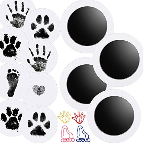 Nabance Kit huella bebe, 8 Tarjetas de Impresión y 4 Plantillas, Kit de Huellas de Perro o Mascota, Manos Almohadillas de Tinta No Tóxicas, No se Mancha, para babies aged 0-6 months, Negro