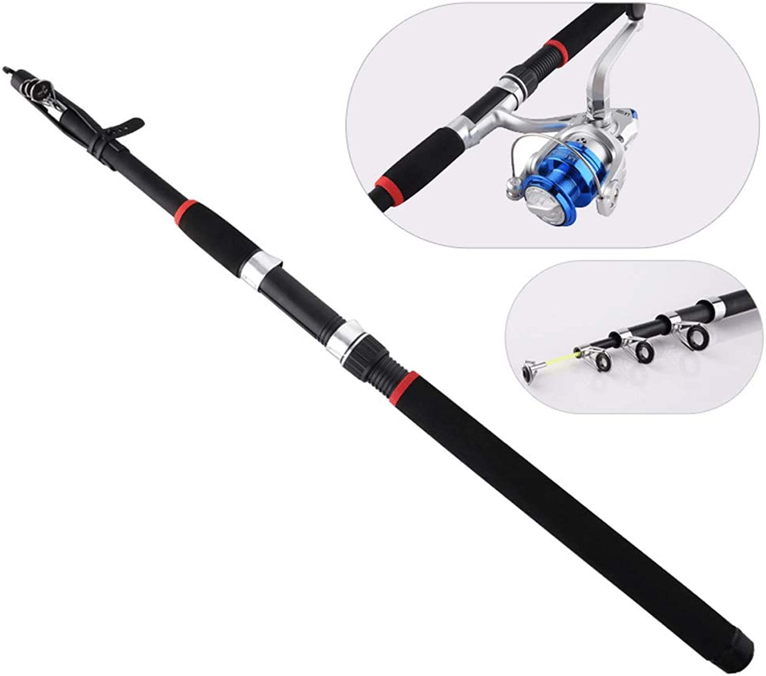 Telescopic Fishing Rod and Reel Combos Full Kit, Portable Spinning Fishing Rod with Hook Fishline Drop Bells Fishing Carrier Bag Case Accessories,2.1M