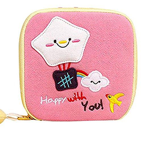 Sukisuki Cartoon-Geldbörse für Damenbinden, Handtücher, Pads, Organizer, Reißverschluss, Münzbörse (Pink)