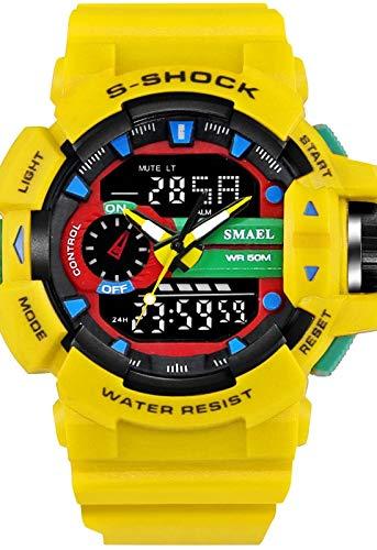 Orologio sportivo militare digitale giapponese, calendario/cronografo/poliuretano/cinturino casual in silicone, resistente agli urti, resistente all'acqua Bracciale giallo
