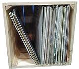 DECORANDO CON SAM Caja de Madera Natural para almacenar vinilos (35x35x32)