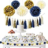NICROLANDEE Navy Blue Gold Party Decoration Kit Nautical Baby Shower Hanging Pom Poms Paper Garland Party Confetti for Navy Party Get Ready Bridal Shower Wedding Birthday Bachelorette (Navy Gold)
