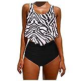 Bañador para mujer de 2 piezas con volantes y un conjunto de bikini de color liso blanco L