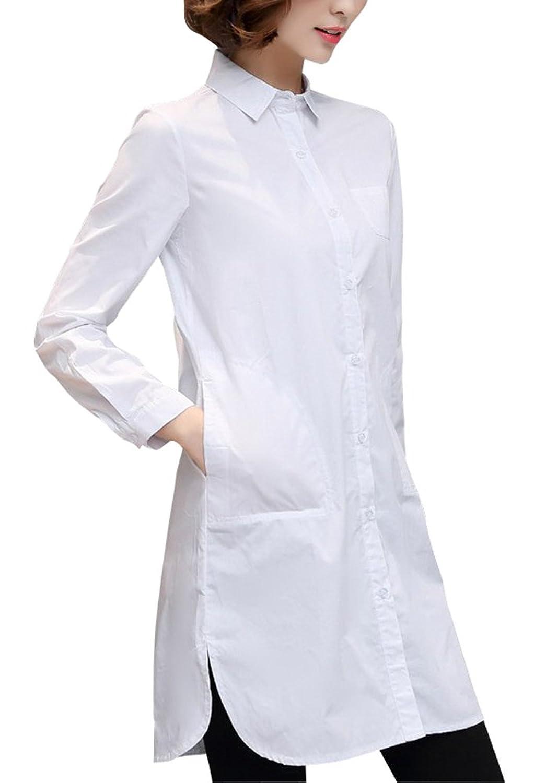 ELPIS レディース シンプル ロングシャツ シャツワンピース ブラウス チュニック スリム Yシャツ 白 黒 (ホワイト,XL)