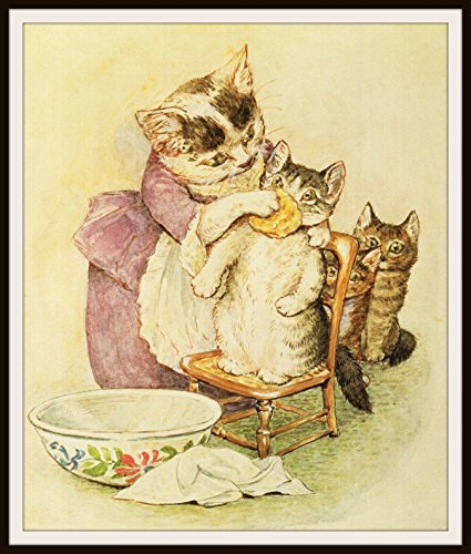 Beatrix Potter Mother Cat and Kittens, Vintage Art Print Reproduction, Nursery, Baby Room, Shower Gift 8 x 10