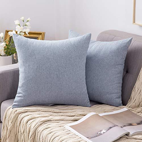 MIULEE 2er Pack Home Dekorative Kissenbezug leinenkissen Kopfkissenbezug Leinen Kiessehülle sofakissen für Sofa Schlafzimmer mit Reißverschlüsse Kissenbezüge 45x45 cm Hellblau