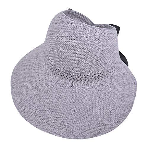 BIBOKAOKE Cappello da sole pieghevole, estivo, da donna, in paglia lavorata a maglia, con tesa larga, estivo, con protezione UV, traspirante, cappello estivo