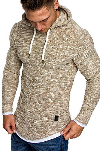 Amaci&Sons Herren 2in1 Kapuzenpullover Hoodie Sweater Pullover Sweatshirt 4013 Beige S