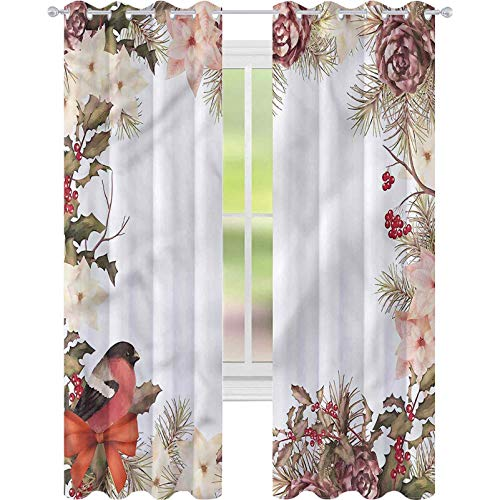 jinguizi Blackout Curtains New Year Bullfinch with Cedar W42 x L72 Room Darkening Home Decor for Kids' Room