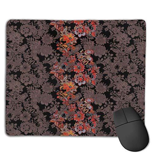 Whecom Gaming Mauspad Schwarz Flowers of Asia in Japanese Art Style Vivid Floral Pattern Boho Print, Benutzerdefiniertes Mauspad Große Gaming-Mausmatte mit rutschfester Basis
