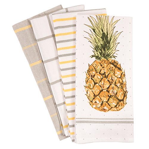 KAF Home Pantry Pineapple Kitchen Dish Towel Set of 4  100-Percent Cotton  18 x 28-inch