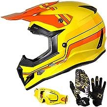 GLX Unisex-Child GX623 DOT Kids Youth ATV Off-Road Dirt Bike Motocross Helmet Gear Combo Gloves Goggles for Boys & Girls (Retro Yellow, Medium)