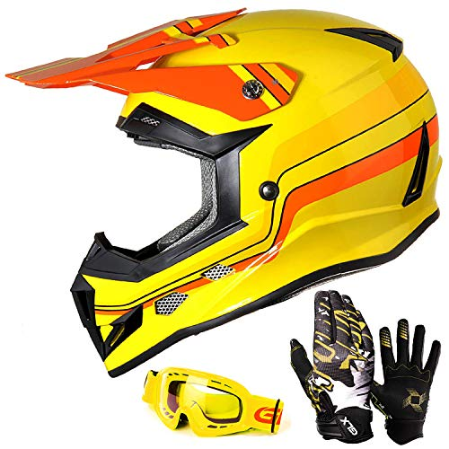 GLX Unisex-Child GX623 DOT Kids Youth ATV Off-Road Dirt Bike Motocross Helmet Gear Combo Gloves Goggles for Boys & Girls (Retro Yellow, Large)