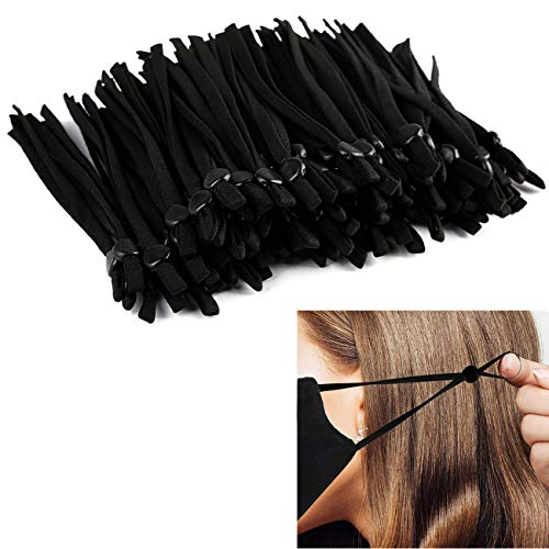 100PCS Mask Sewing Elastic Band Cord with Adjustable Buckle, High Stretch Elastic String for Masks 1/4 inch, Earmuff Strap Face Cover String Rope for Sewing Crafting DIY Masks (Black)