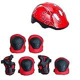 txyfyp bicicletta bambini casco e pastiglie set, ginocchiere gomitiere protezioni polsi e regolabile casco per moto scooter skateboard skate per bambino ragazzi e ragazze - rosso, 7pcs