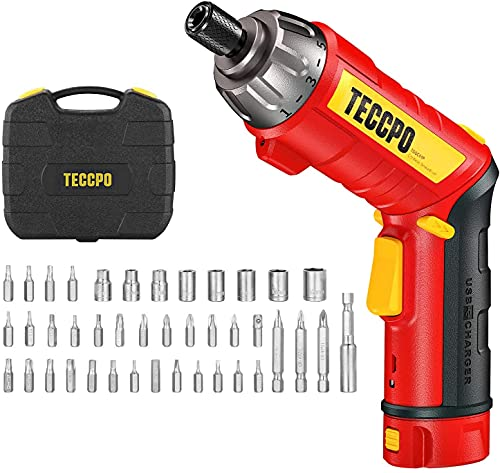 Cordless Screwdriver, 6Nm Electric Screwdriver, 4V 2000mAh Li-ion, with 45 pcs Accessories, 9+1 Torque Gears, Adjustable 2 Position Handle with LED,...