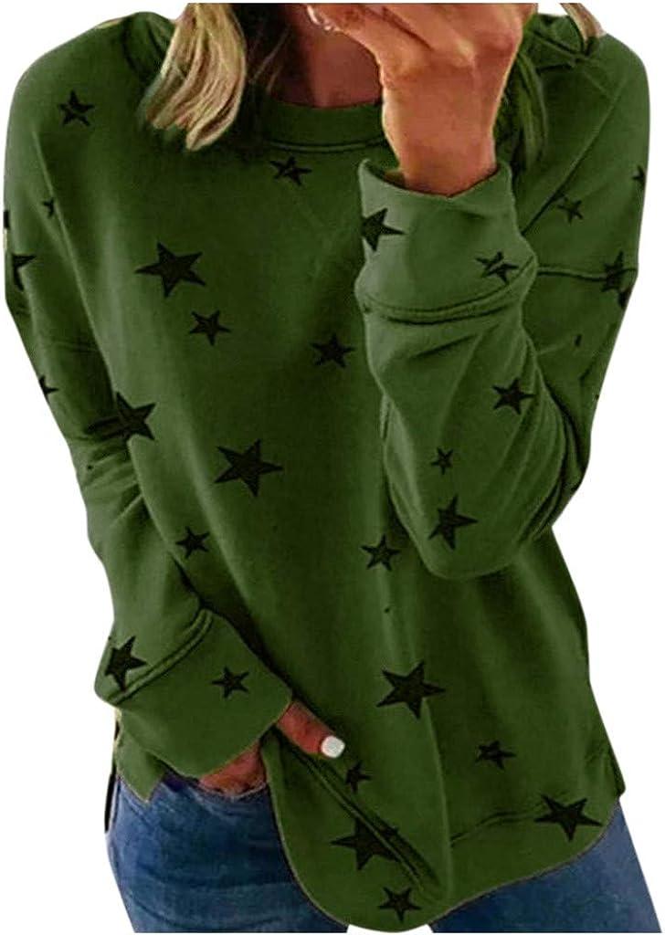 Sweatshirts for Women Crewneck,Womens Plus Size Long Sleeve Sweatshirt Round Neck Star Print Side Split Pullover