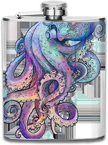 Traditionelle Octopus Aquarellfarbe Im Freien Tragbare 304 Edelstahl Auslaufsicher 7 UNZE Topf Flachmann Reise Camping Flagon für Mann Frau Glaskolben Großes Kleines Geschenk