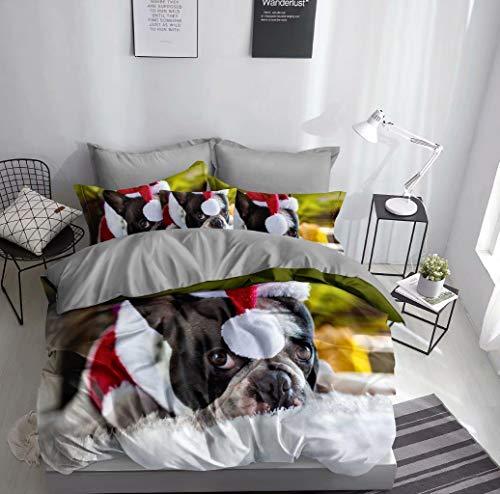 FEBE Juego de cama 3D con diseño de bulldog francés, funda nórdica de 135 x 200 cm y 80 x 80 cm, gorro de Navidad, doble cara, rojo, blanco y negro, con cierre