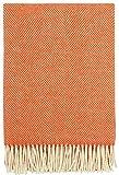 Plaids & Co - Manta (100% lana virgen neozelandesa, 130 x 220 cm), color naranja