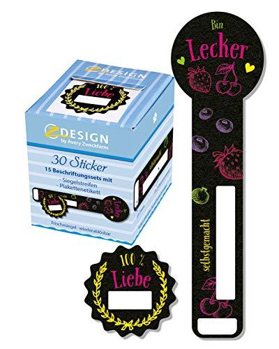 Avery Zweckform 56881 - Sellos de frescura (30 adhesivos en rollo), diseño de fugas de cerveza, etiquetas de sellos, etiquetas para conservas, etiquetas para el hogar, etiquetas para carteles