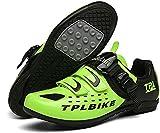 KUXUAN Zapatos de ciclismo para hombre - competencia profesional al aire libre SPD y MTB Lock Zapatos,Verde-3-45EU