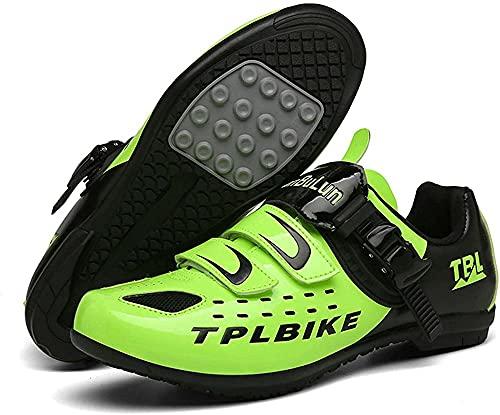 KUXUAN Zapatos de ciclismo para hombre - competencia profesional al aire libre SPD y MTB Lock Zapatos,Verde-3-36EU