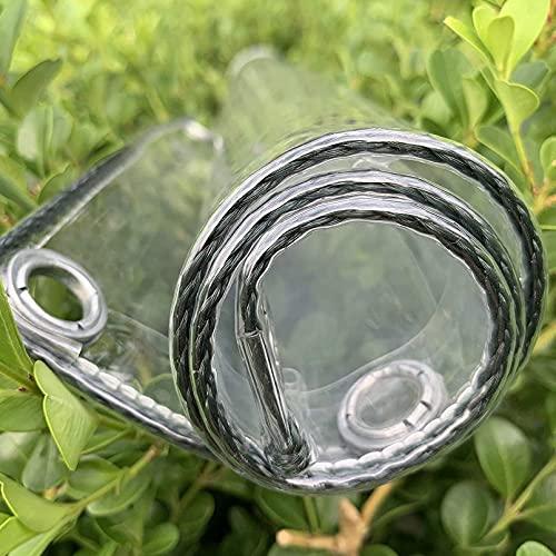 Lonas Transparentes Lona de plástico Resistente al Agua, Gruesa, Impermeable, Aislamiento de Cubierta de Lona de PVC con Ojales, para Techo, Camping, Exterior, Vidrio de Patio, (0.3 mm / 360g / m &