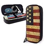 Bolsa de Lápiz,Estuche de lápices de Gran Capacidad Estuche Escolar de Gran Capacidad Bandera americana patriótica de los EEUU del grunge del vintage