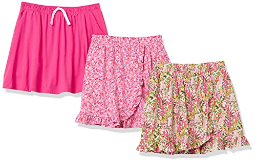 Amazon Essentials Knit Scooter Skirts Falda, 3-Pack Floral/Rosa, 11-12 años