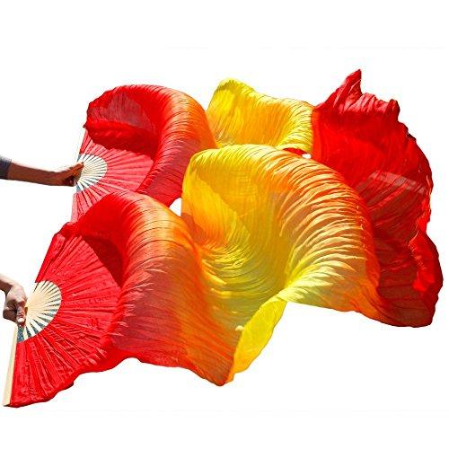 シルクファンベール 2本セット シルク100% ベリーダンス ファンベール シルクファンベール ベール シルク 衣装 扇子 団扇 舞台 小道具 アクセサリー 扇子 団扇 180*90 cm (赤黄赤)