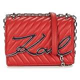 KARL LAGERFELD Bolso Pequeño Con Cadena Plateada K/Signature 201W3108 Color Rojo.