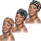 SATINIOR 3 Pieces African Turban for Women Knot Pre-Tied Bonnet Beanie Cap Headwrap (Yellow Flower, Black Flower, Purple Flower)