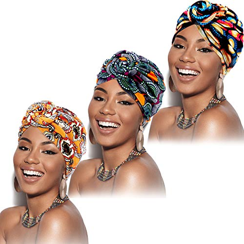 3 Piezas Turbante Africano para Mujeres Gorro de Nudo Pre-Atado Envoltura de Cabeza (Flor Amarilla, Flor Negra, Flor Morada)