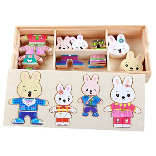 AiSi 72 PCS Holz Anziehpuzzle Anzieh Spiel Anziehpuppenpuzzle Dress-Up Puzzle Pädagogisches Lernspielzeug für Kinder ab 3 Jahren (Hasenfamilie)
