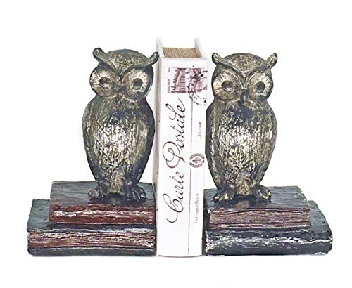 Bellaa 21725 Wide Eyed Owl Bookend Pair 8 inch