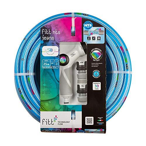 FITT NTS Jeans 1/2' (12,5mm) 20m - Manguera de Color Azul Intenso para Riego de Jardín, Robusta y Maleable, para Uso Intensivo, con Pistola Multichorro y Racores, con Tecnologías exclusivas.