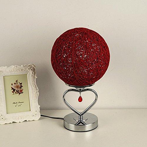 motes uvar un Dormitorio bedlamp Retro–Romántica Boda creativa forma richtiges Luz Roja boda–Lámpara, corazón de cáñamo Stock Rojo, con 3W LED–Blancas cálidas Button Cambiar