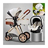 JIAX Stroller Car Seat Combo for Infant and Toddler Travel System with Fan Rain Cover Cooling Pad Sunshade Foot Cover Easy One Hand Fold Travel System Stroller (Color : White)