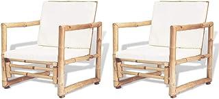 vidaXL 2X Sillas de Jardín Bambú 60x65x72 cm Sillón de