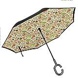 Double Layer Inverted Umbrella with C-Shaped Handle, Seasonal Greenery Botany Anti-UV Waterproof Windproof