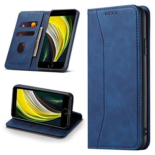 Leaisan Handyhülle für iPhone SE 2020 Hülle, iPhone 8 Hülle, iPhone 7 Hülle, Premium Leder Flip Klappbare Stoßfeste Magnetische [Standfunktion] [Kartenfächern] Schutzhülle Tasche - Blau