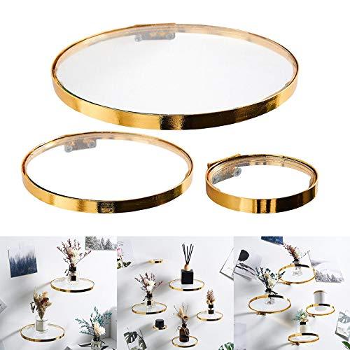 ZZJCY Glas Wandregal Gold, Schwimmende Wandregale Mit Rund Design, Goldene Wandregale, Glasregale Lagerregale Für Schlafzimmer, Wohnzimmer, Wohnkultur,L