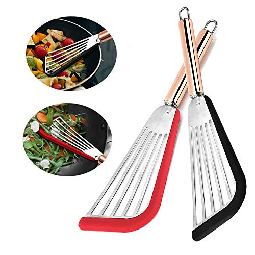 2Pcs Slotted Spatula Stainless Steel Nonstick Heat Resistant Spatula Turner Silicone Top Soft Edge Fish Spatula with Golden Handle Black and Red